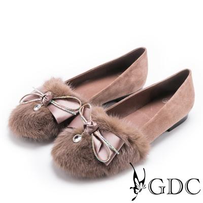 GDC~浪漫法式貂毛蝴蝶結水鑽平底包鞋~豆沙色