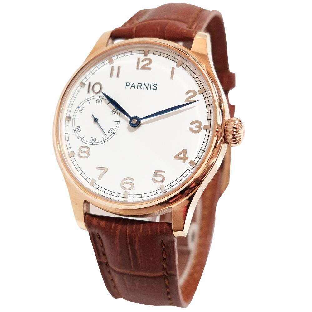 PARNIS 手動上鍊經典機械錶 PA3105 玫瑰金 後鏤空/42mm