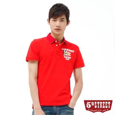 5th STREET POLO衫 旗幟開襟素面POLO衫-男-紅色