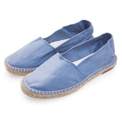 (女)Natural World 西班牙休閒鞋 麻邊素色款*藍色