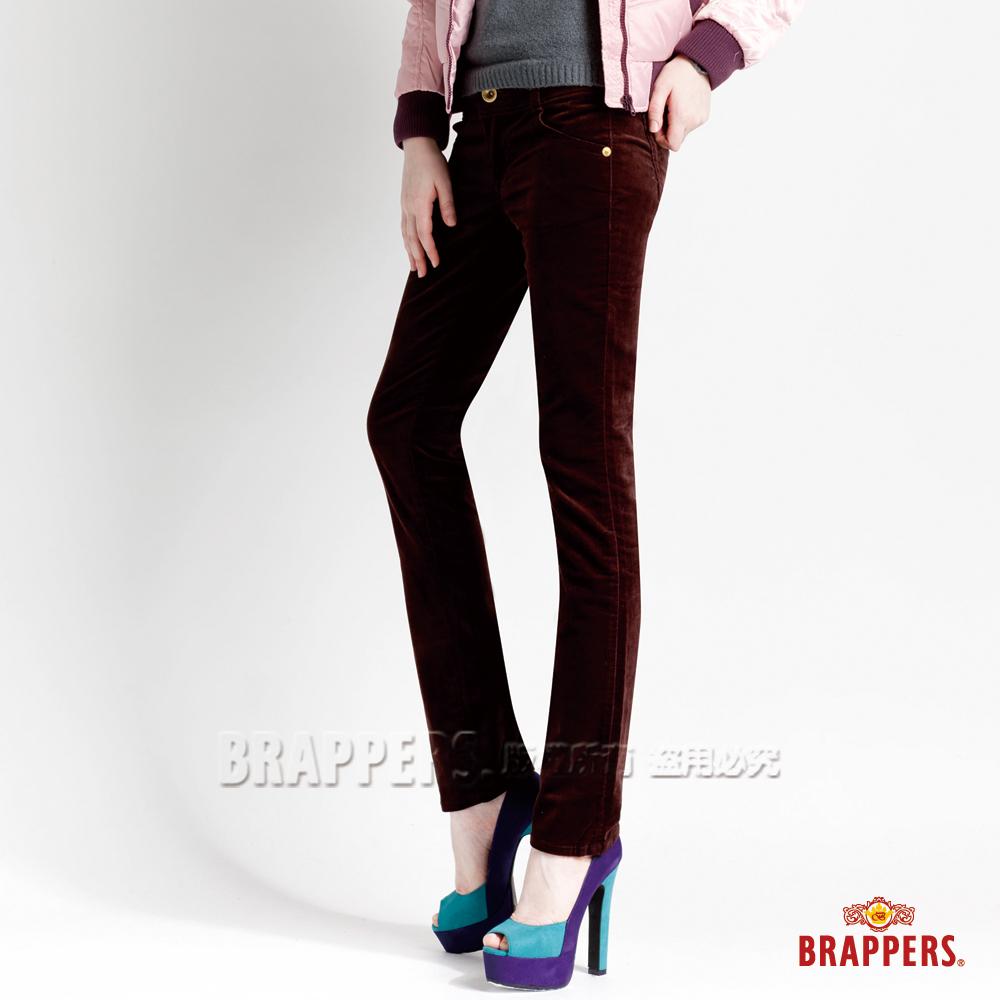 BRAPPERS 女款 新美尻Royal系列-女用平面絨彈性九分褲-深咖啡
