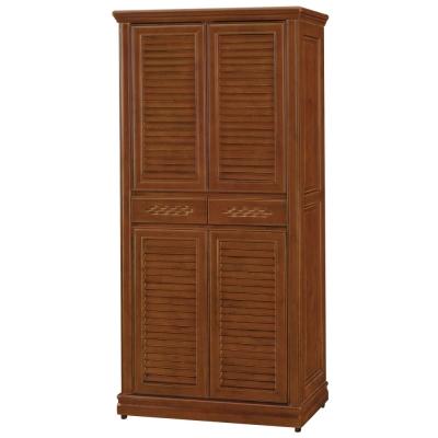 品家居  莎曼莎3x6尺實木胡桃色高鞋櫃