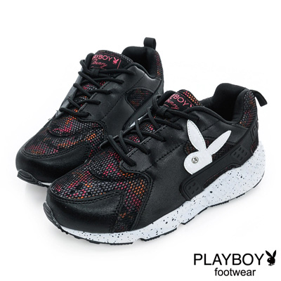 PLAYBOY-玩樂主義-潮流網布拼接休閒鞋-黑-女