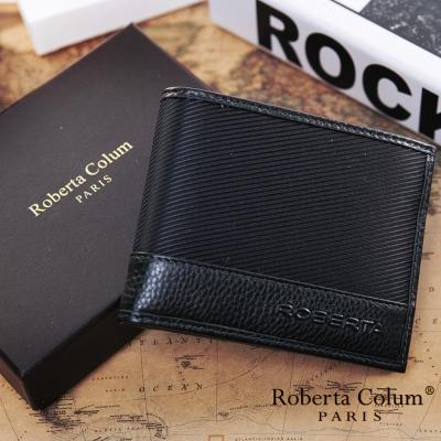 Roberta Colum - 雅痞時尚系牛皮款左右翻 8 卡 1 照短夾-黑
