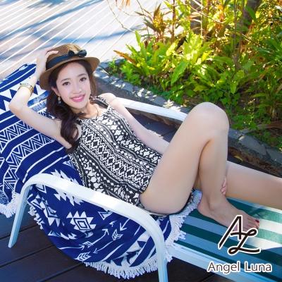 【AngelLuna日本泳裝】平口幾何圖騰短褲四件式比基尼泳衣-黑色