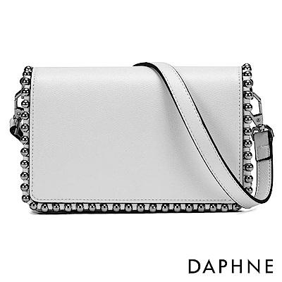 達芙妮DAPHNE-簡約純色鉚釘兩用側背包-白