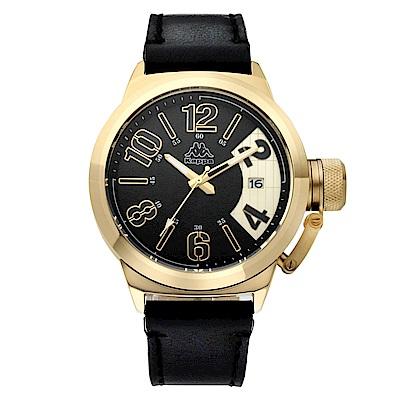 Kappa 獨特重金屬經典時尚腕錶-黑x金/ 49 mm