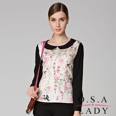 O-S-A-LADY-娃娃領花鳥印花雪紡襯衫-黑色
