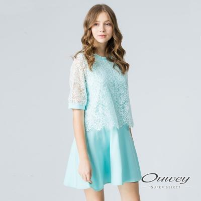 OUWEY歐薇 奢華甜美縷空蕾絲洋裝(黑/水)