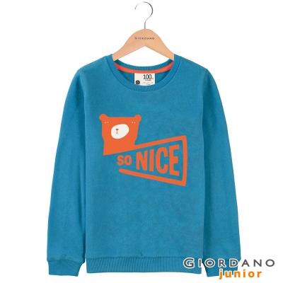 GIORDANO 童裝青春活力字母印花圓領長袖T恤 - 12 瑞典藍