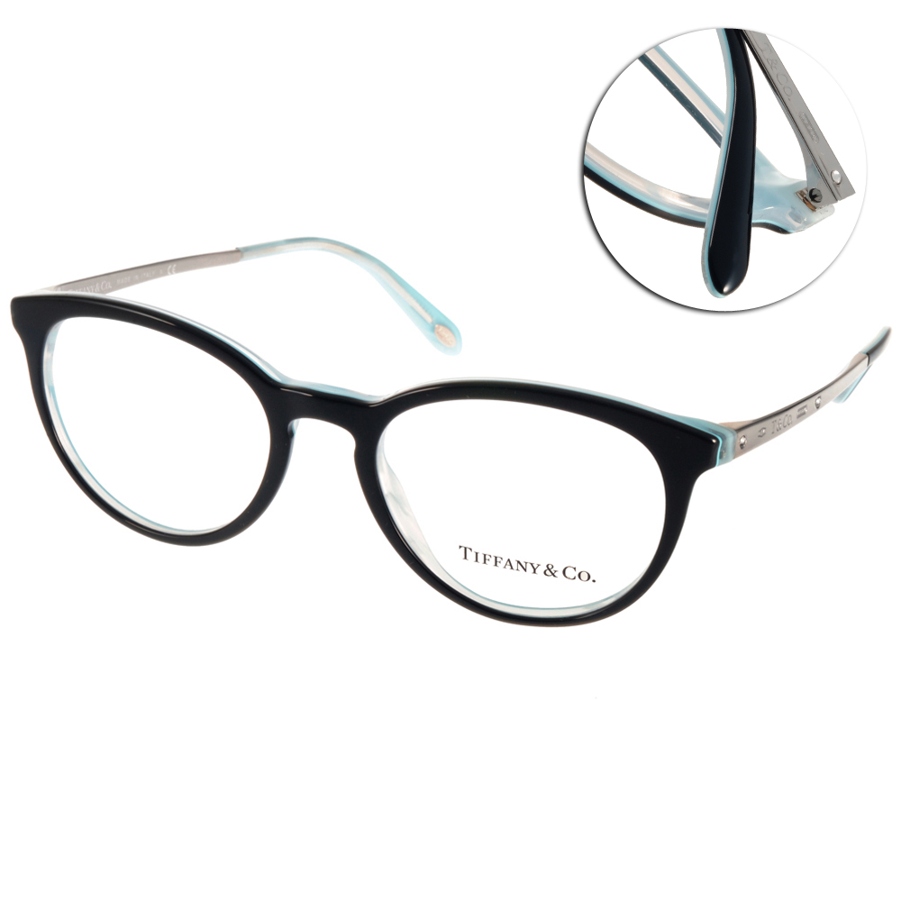 Tiffany&CO.眼鏡 氣質貓眼款/黑-銀#TF2128B 8193