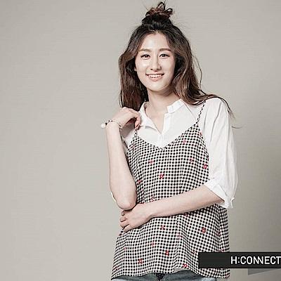 H:CONNECT 韓國品牌 女裝 - 格紋小花細肩背心-黑(快)