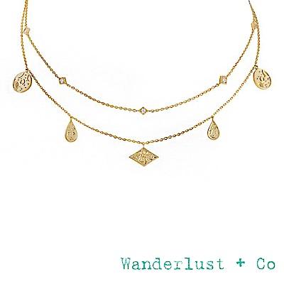Wanderlust+Co 澳洲時尚品牌 INES宇宙星系鑲鋯項鍊 金色