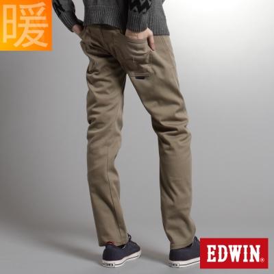EDWIN 大尺碼窄直筒W-F EF迷彩保溫褲-男-褐色