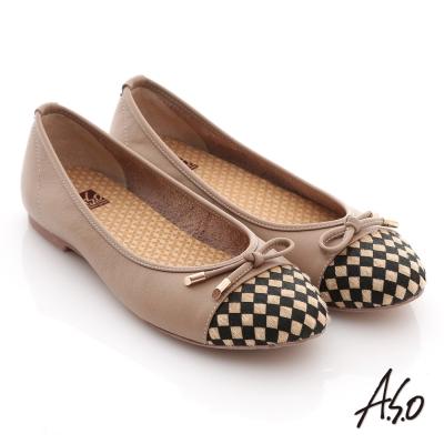 A.S.O 優雅甜美 全真皮菱格蝴蝶結飾奈米平底鞋 卡其