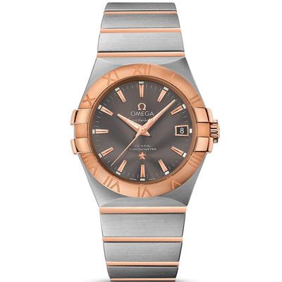 Omega 歐米茄constellation星座系列暖灰玫瑰金自動腕錶-35mm