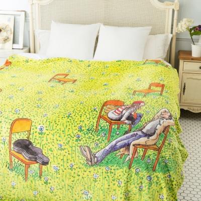 繪見幾米 向左走向右走 數位印染 草地談天法蘭絨毯 180x200cm
