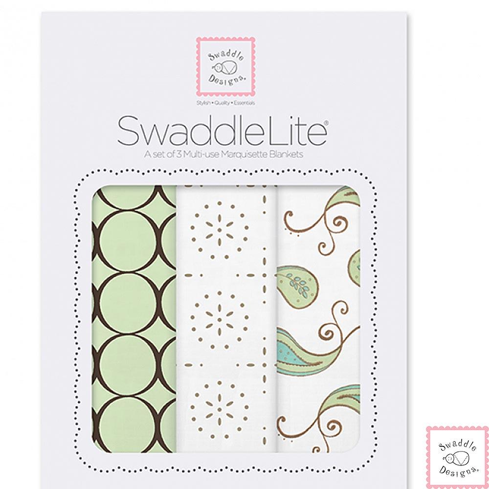 Swaddle Designs 薄棉羅紗多用途嬰兒包巾三入禮盒-樹葉圈圈
