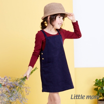 Little moni 甜心女孩條絨背心吊帶裙 深藍
