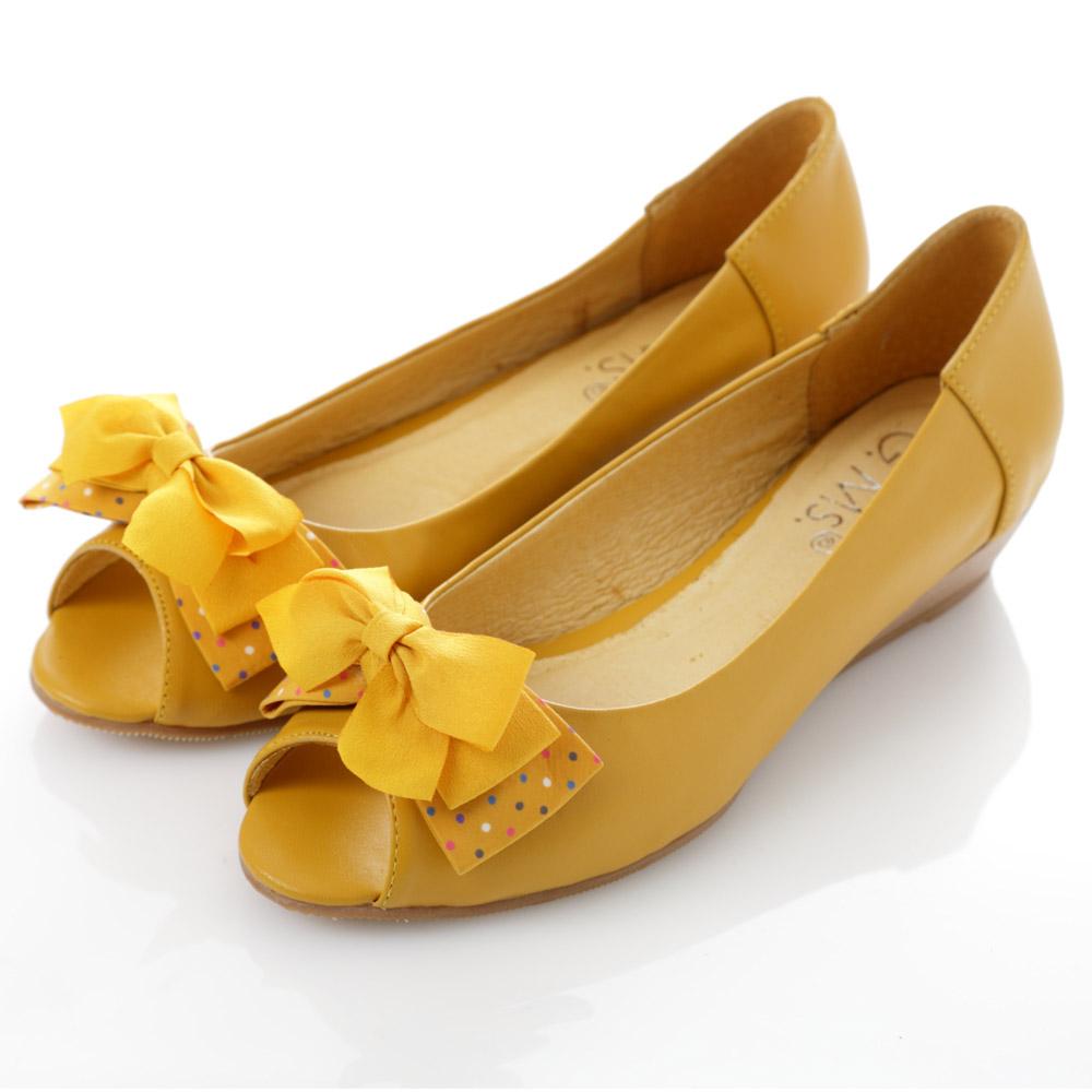 G.Ms.   魚口雪紡紗水玉雙層蝴蝶結小坡跟鞋-時尚黃