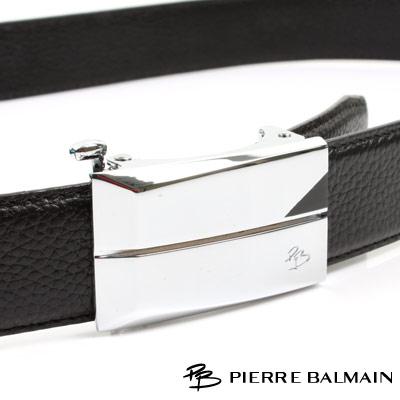 PB 皮爾帕門-經典方框切線Logo款-頭層牛皮自動扣皮帶-805