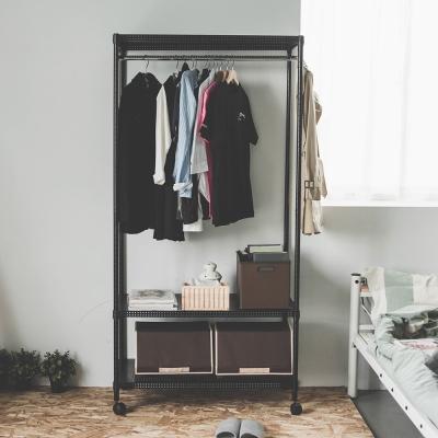 完美主義 單桿衣櫥/附輪/鐵力士(2色可選)-90X45X180cm