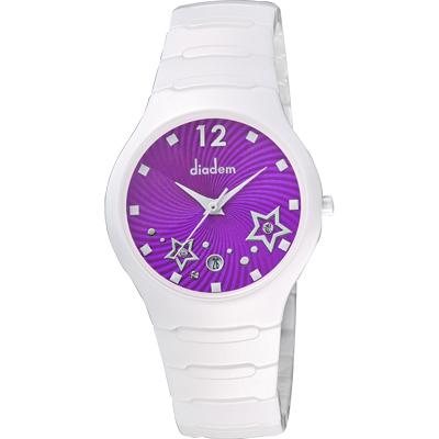 Diadem 黛亞登 甜蜜星空時尚白陶瓷腕錶-紫/36mm