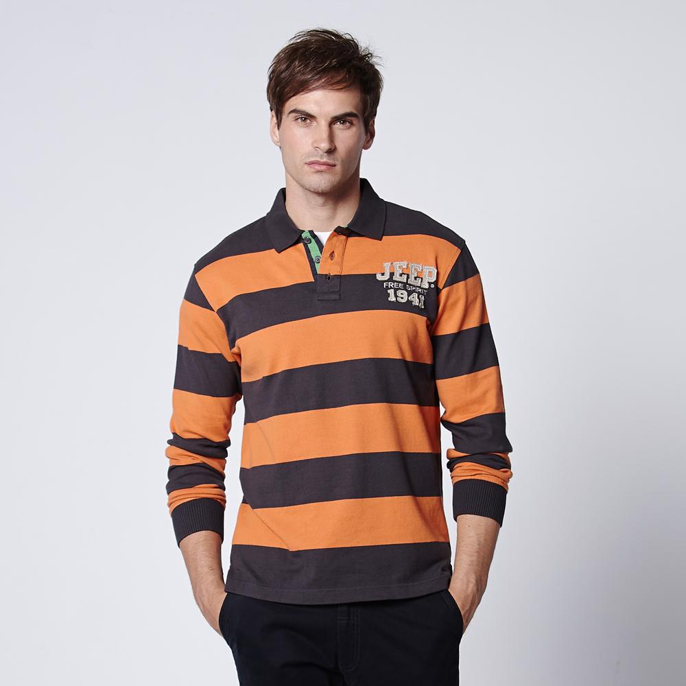 JEEP經典刺繡條紋長袖POLO衫(地球橘)