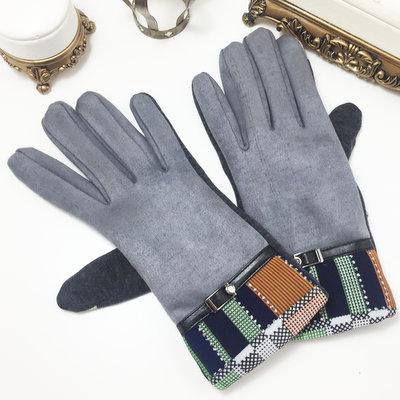 ACUBY-二指觸控時尚隨機隔紋手套-灰