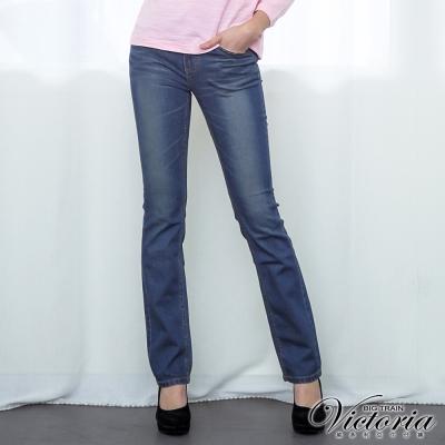 Victoria 中高腰天絲棉燙鑽小直筒褲-女-深藍