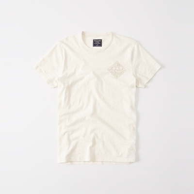 A&F 經典文字印刷設計短袖T恤-米白色 AF Abercromb