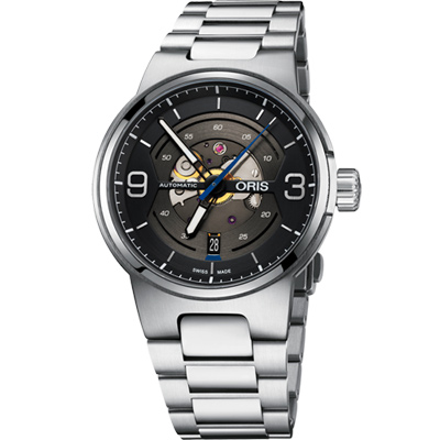 Oris 豪利時 Williams鏤空日期機械腕表-灰/ 42 mm