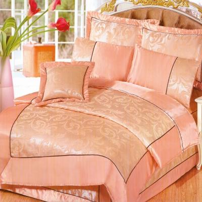《GALATEA》沙定緹花-粉橘。雙人加大絲緞四件式床包鋪棉兩用被組