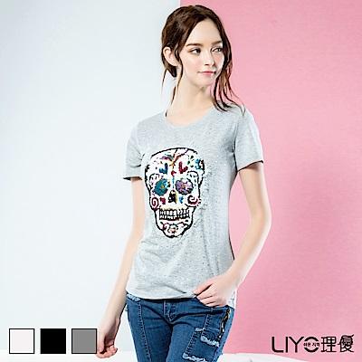 LIYO理優上衣圖案印花棉T恤(白,灰,黑)
