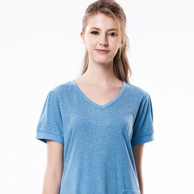 羅絲美睡衣 - 休閒居家V領短袖洋裝睡衣(活力藍)
