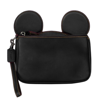 COACHXDISNEY聯名款黑色全皮MICKEY耳朵手提掛小包
