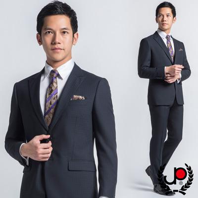 【極品西服】-英倫復古仿毛料西裝外套_藍黑格(AS433-3G)