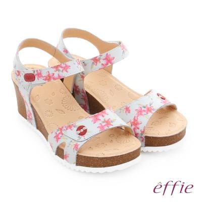 effie 嬉皮假期 真皮繽紛碎花繞踝厚底涼拖鞋 粉紅色