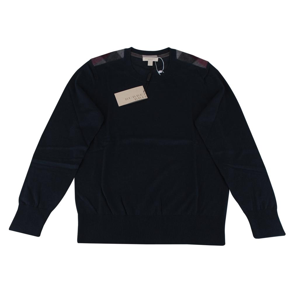 BURBERRY 肩上格紋針織長袖毛衣(男/深藍)