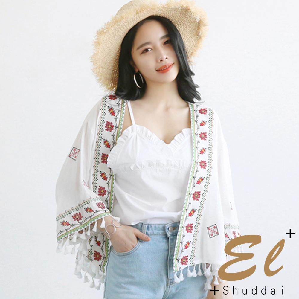 正韓布波民風流蘇罩衫外套-共二色El Shuddai