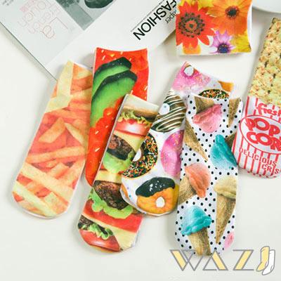 Wazi-趣味3D列印圖案短襪踝襪 (1組三入)