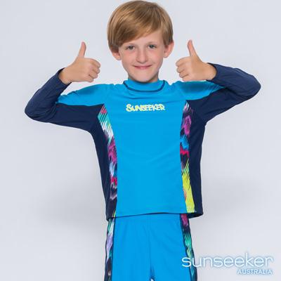 澳洲Sunseeker泳裝抗UV防曬立領長袖泳衣-大男童上衣/天藍