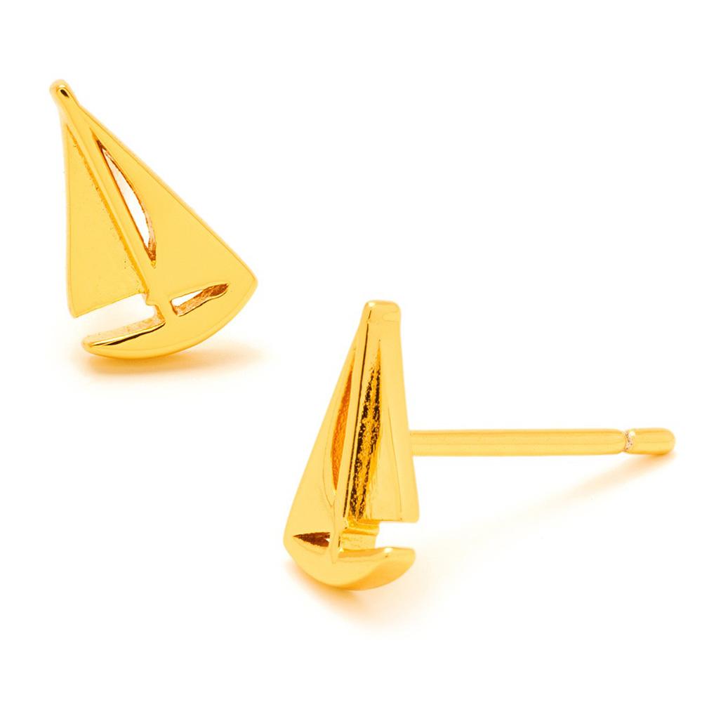 GORJANA 立體帆船 金色造型耳環 SAILBOAT STUDS