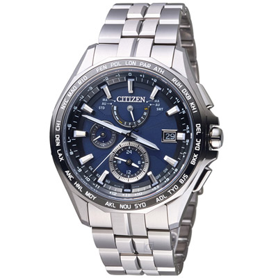 CITIZEN 勁量流線電波萬年曆限量錶(AT9090-53L)-藍/42mm