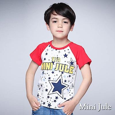Mini Jule 童裝-上衣 雙色大小星星字母棒球T(紅)