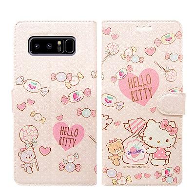 Hello Kitty貓 Samsung Note 8 粉嫩系列彩繪磁力皮套(軟...