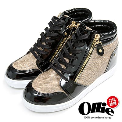 Ollie韓國空運-正韓製閃亮金蔥雙拉鍊休閒增高鞋-黑金