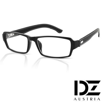 DZ-簡約車線皮革-平光眼鏡-經典亮黑