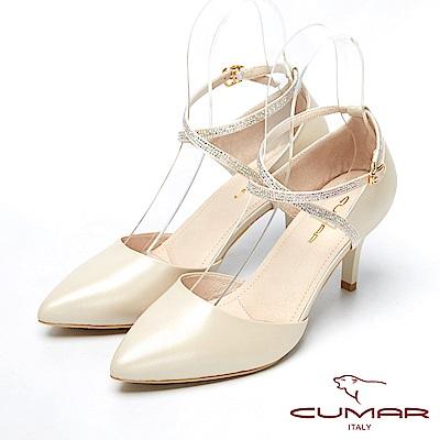CUMAR視覺顯瘦-水鑽造型尖頭高跟鞋-白色