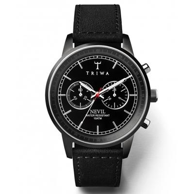 TRIWA Nevil系列Midnight-經典時尚真皮錶款-42mm
